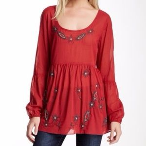 Free People Star In The Dust Red Beaded Tunic